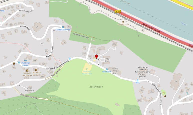 Straßenkarte mit Kontakt der Klaus Tschira Stiftung